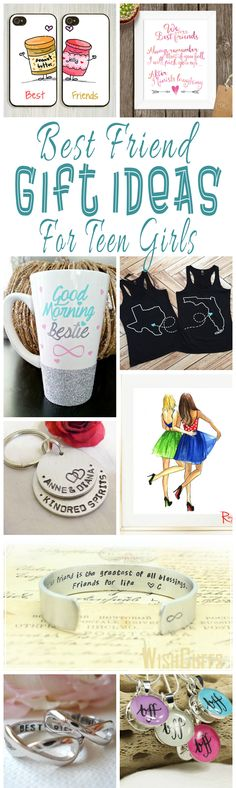 A collection of unique hand crafted or designed best friend gift ideas for teen girls.