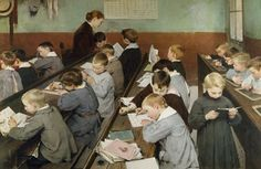 The Children's Class. Young boys in smocks studying in a classroom, some reading, the other writing on their exercise books or on slates. Painting by Henri-Jules-Jean Geoffroy also called Geo. Get premium, high resolution news photos at Getty Images John Taylor, Helene Schjerfbeck, Contexto Social, Vintage School, Vintage Children, School Daze, School Kids, Illustrations, French Artists