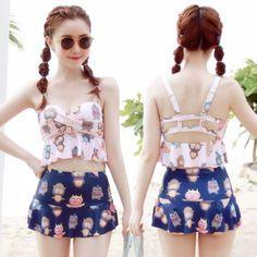 Sweet Printed Bikini Skirt Two-piece Outfit