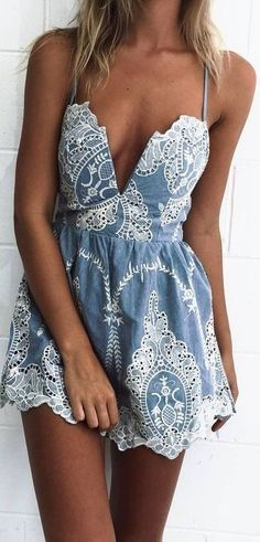 Lace + Chambray Playsuit                                                                             Source