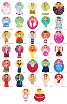 a chart showing traditional dresses from Mexico Mexican Costume, Mexican Outfit, Mexican Dresses, Mexican Clothing, Mexican American, Traditional Mexican Dress, Traditional Dresses, Mexican Folk Art, Mexican Style