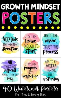 Inspirational Growth Mindset Posters (40 total) - Mindfulness Posters - Watercolor Design - Decorate your elementary classroom bulletin boards with this printable set of inspirational Growth Mindset quote posters for kids. With 40 posters in all, it is the perfect way to build a motivational themed classroom or school counseling office. Each quote is engaging and inspires a growth mindset. #inspire #growthmindset #motivational #quotes #quoteposters #elementary #classroomdecor #middleschool Counselor Bulletin Boards, Inspirational Bulletin Boards, Office Bulletin Boards, Classroom Organization, Classroom Decor, School Counseling Office, Growth Mindset Posters, Classroom Posters, Watercolor Design