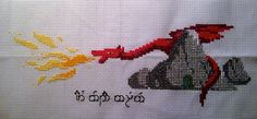 """Smaug cross stitch. Maybe should write something other than """"Happy Birthday."""""""