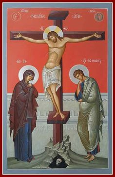 Artwork of the Crucifixion of Jesus Christ Religious Images, Religious Icons, Religious Art, Byzantine Icons, Byzantine Art, Greek Icons, Religion, Crucifixion Of Jesus, Christian Artwork