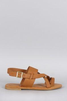 Bamboo Leatherette Toe Ring Slingback Flat Sandal