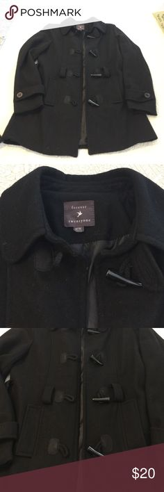 Black pea coat From forever 21, size medium. Worn a few times, missing the belt, no holes or stains, smoke free home 💕 Forever 21 Jackets & Coats Pea Coats