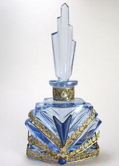 All Blue Jeweled Czech Perfume Bottle