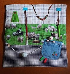 Dementia fidget blanket/ busy fiddle quilt/ Stroke Alzheimer's Autism - padded