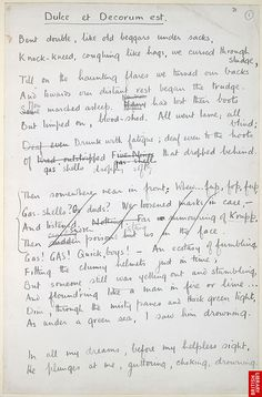 dulce et decorum est by wilfred owen and the soldier by rupert brooke essay I will focus on the poem 'dulce et decorum est' by wilfred owen and explain this   however, i will also annotate a poem by rupert brooke called 'the soldier'.