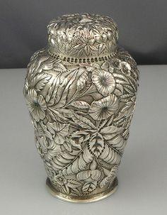 Repousse Antique Silver Tea Caddy