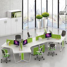 Modular Furniture Aluminum Parion Office Workstation For 6 Person
