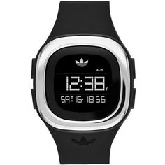 adidas Originals 'Denver' Digital Silicone Strap Watch, 42mm (1,415 MXN) ❤ liked on Polyvore featuring jewelry, watches, logo watches, digital watches, digital wristwatch, digital wrist watch and water resistant watches