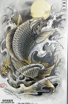 传统满背鲤鱼纹身素材分享
