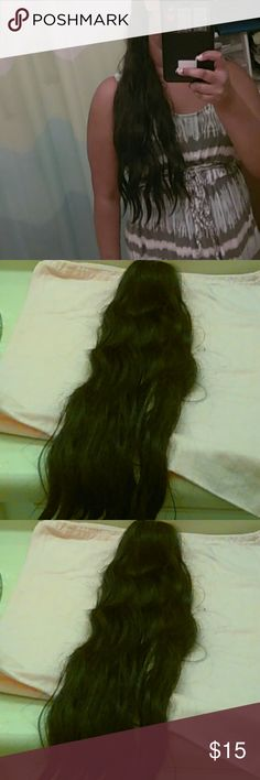 Human Hair Ponytail 100% Dark Brown Human Hair Ponytail that had been washed. This piece can be washed, conditioned, straighten or curled up to 350 degrees. I have worn this only for a week. Paid $100 for it from a Brazilian Hair Seller. 20-24 inches long. Other