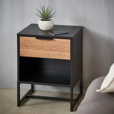 TRENTON Cajonera negro A 55,5 x An. 40 x P 34 cm Armoire, Night Table, Industrial Bedroom, Decoration, Nightstand, Bedside, Room Decor, Wood, Furniture