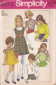 Girls Jumper and Blouse Pattern Simplicity 8374 Size 8