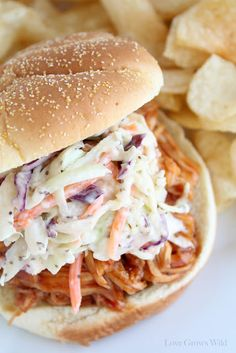 Easy Creamy Coleslaw recipe perfect for parties and cookouts! The best coleslaw I've ever made! via LoveGrowsWild.com #recipe