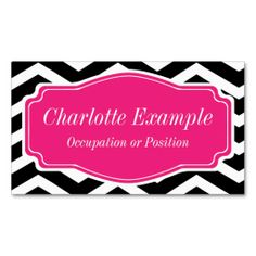 Black White Pink Chevron Personal Business Card. This great business card design is available for customization. All text style, colors, sizes can be modified to fit your needs. Just click the image to learn more!