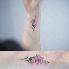 "2017 trend Watercolor tattoo - Sol Art on Instagram: ""Single line flower tattoo . .…"""