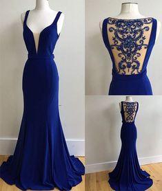 Sexy Prom Dress, Dark Blue Mermaid Prom Dress,Long