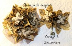 Steampunk-Inspired Corsage & Boutonnière (Keys). $36.00, via Etsy.  #wedding #paperflowers #etsy #handmade #steampunk #keys #corsage #boutonniere #prom