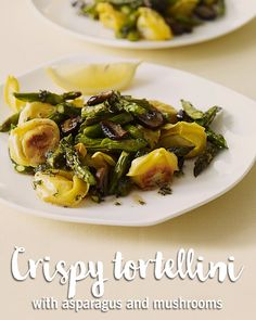 Enjoy a tasty and healthy recipe. Learn how to make Crispy Tortellini with Asparagus and Mushrooms in Brown Butter-Sage Sauce. Asparagus And Mushrooms, Stuffed Mushrooms, Cooking Recipes, Healthy Recipes, Ww Recipes, Healthy Meals, Pasta Recipes, Free Recipes, Quick Easy Meals