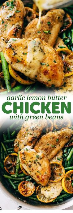 Skillet Garlic Lemon Butter Chicken - an easy chicken recipe with green beans an. - Skillet Garlic Lemon Butter Chicken – an easy chicken recipe with green beans and drizzled in a q - Butter Chicken Rezept, Lemon Butter Chicken, Chicken Parmesan Recipes, Chicken Salad Recipes, Recipe Chicken, Quick Easy Chicken Recipes, Buttered Chicken Recipe, Easy Chicken Meals, Lemon Garlic Butter Sauce