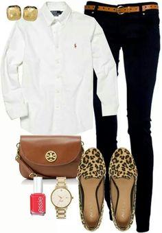 #Summer #2014 #fashion - black skinnies, boyfriend shirt, tan Tory burch bag & leopard print loafers-Love!