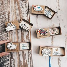 Funny Birthday Matchbox-cards Set of 5/Cute Birthday by 3XUdesign