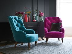 The Penelope armchair in Peony and Amazon cotton matt velvet, £990