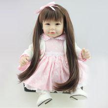 50 - 52 cm Silicone renascer Baby Dolls macio marrom olhos Lifelike bebê brinquedo casa de jogo do corpo cabelos longos princesa Dolls renascido brinquedos(China (Mainland))