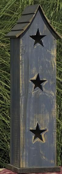 Amish Wooden Tall Primitive Painted Birdhouse