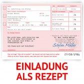 Einladungskarte als Rezept - Rosa