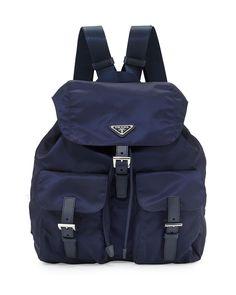 Prada Vela Medium Backpack, Navy (Bluette)