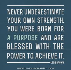 Never underestimate your own strength. You were born for a purpose and are blessed with the power to achieve it. -Leon Brown