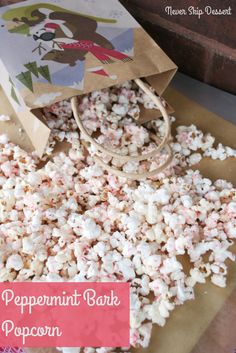 Peppermint Bark Popcorn Recipe ~ make homemade popcorn over the stove and dress it up with some white chocolate and peppermint! Great for gifts or family movie night!