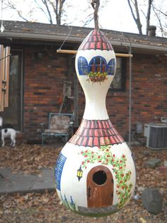 Southwestern painted gourd birdhouse