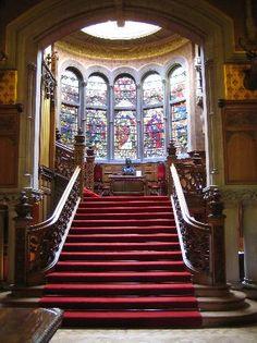 Skibo Castle, Dornoch, County of Sutherland, Scotland Luxury Staircase, Grand Staircase, Staircase Design, Spiral Staircase, Mansion Bedroom, Mansion Interior, Skibo Castle, Peles Castle, Pool At Night