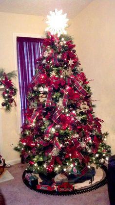 Plaid ribbon Christmas tree decorations