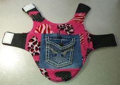 Dog Cat Pet Pink Fleece Denim Blue Jean Pocket Jacket w/ Harness Hole Size S New #Handmade