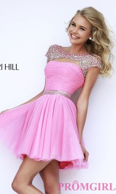 Prom Dresses, Celebrity Dresses, Sexy Evening Gowns: Short High Neck Sherri Hill Prom Dress