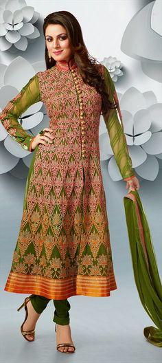 421415: #Anarkali #SalwarKameez, Faux Georgette, #Lace, Resham, #embroidery #geometry #mehendi #henna #green #wedding #bridalwear