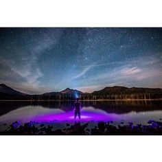Night shot by  @junebugschoon at Sparks Lake in the central Cascade Range.  Use the hashtag #usoutdoor and we will repost your adventures too! #SnowWaterLand #sparkslake #centraloregon #portland #outdoorproject