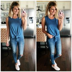 Perfect Outfit for Spring // Tie Front Top with Distressed Jeggings and Blush Converse // Blush Shoes // Slip On Sneakers // How to Style a Tie Front Tee // How to Wear a blue top and blue denim // Spring Fashion #shopthelook #perfectoutfitforspring #tiefronttop #distressedjeggings #blushconverse #sliponsneakers #howtosyleatiefronttee #howtowearabluetopandjeans #springfashion #ootd
