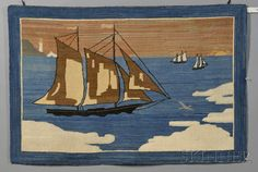 Grenfell Pictorial Hooked Rug with Arctic Sailing Vessels, Icebergs, and Distant Lighthouse, Grenfell Labrador Industries, Newfoundland and Labrador, early 20th century, composed of silk, cotton, and rayon jersey strips, in shades of blue, brown, green, and white, (lacking maker's label), 26 x 39 in.   Estimate $800-1,200     Please note that there is no maker's label on this rug.  Sold for $3,911