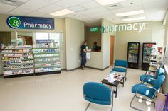 A retail pharmacy is located just off the lobby. Wellness Center, Pharmacy, Workout Programs, Health Care, Medical, Retail, Training Programs, Apothecary, Medicine