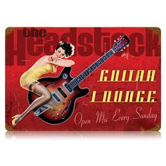 Headstock Guitar Lounge Pin Up Metal Sign | Vintage Pinup Decor | RetroPlanet.com