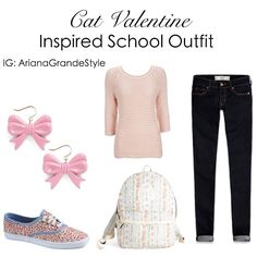 Ariana Grande (Cat Valentine) Inspired School Outfit Top: Wallisfashion.com Jeans: Hollister.com Backpack: Modcloth.com Earrings: ModCloth.com Shoes: Keds.com Ariana Grande Outfits, Crop Top Outfits, Cute Outfits, Nerd Fashion, Fashion Outfits, Cat Valentine Outfits, Nerd Mode, College Outfits, School Outfits