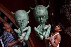 24 horus in pictures: Durga Puja festival preparations