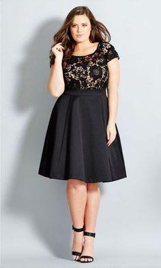 Plus Size Women's City Chic 'Romantic Lace' Fit & Flare Dress Vestidos Plus Size, Plus Size Dresses, Plus Size Outfits, Plus Size Cocktail Dresses, Looks Plus Size, Look Plus, Curvy Girl Fashion, Plus Size Fashion, Petite Fashion